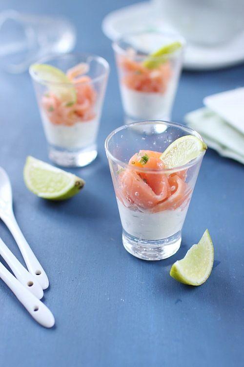 Verrines saumon, crème à la ciboulette