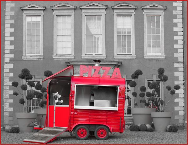 Mr & Mrs Unique :: Lucabuca Pizza :: Woodfired pizzas from our red vintage horse box for parties, weddings and events.