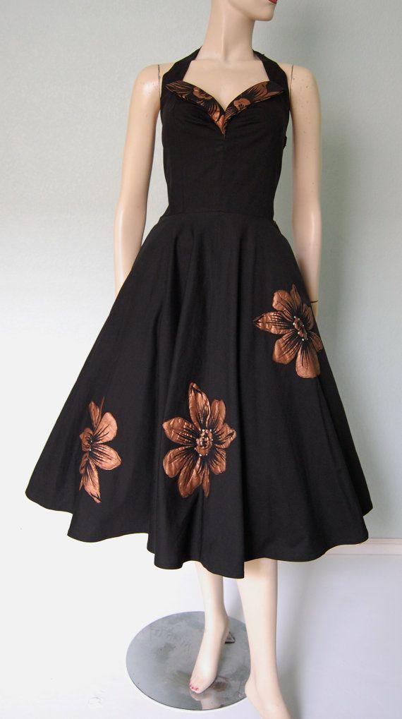 1950s Marcel of Miami Cotton Halter Dress with Flower Appliques - Wonderfully Full Skirt