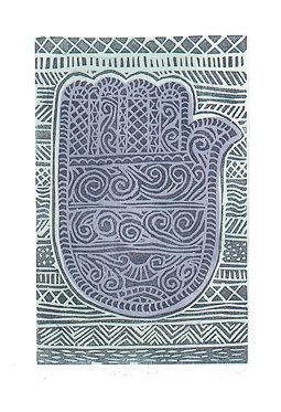 Fatima Hand  Linocut Print by glynwestdesign on Etsy, £18.00