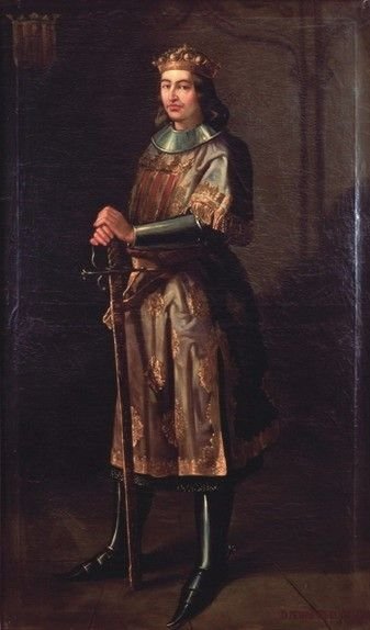 Pedro III, King of Aragon (born 1240, acceded 1276, died 1285), painting (1854), by Manuel Aguirre y Monsalbe (1822-1856).