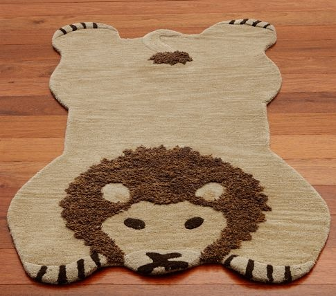 Exceptional Pottery Barn Kids Lion Shaped Rug Jungle Nursery Wool 3x5 SEALED NEW