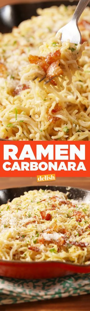 Ramen Carbonara lets you have a fancy dinner on the cheap. Get the recipe on Delish.com.