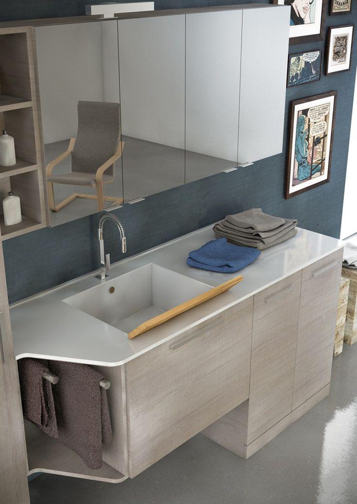 Mobile lavabo per lavatrice in legno in stile moderno con armadio con specchio