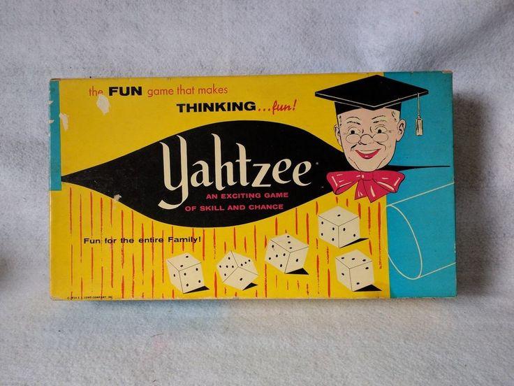 Vintage yahtzee game ES Lowe Co old board game 1956 PLUS SCORE CARD BOX!!! WOW!! #ESLowe