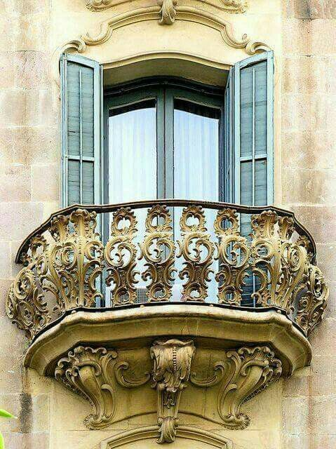A gorgeous window balcony of The Casa Manel Philip in Barcelona, Spain. It was designed by architect Telmo Fernández, and Janot in 1901. Photography by: Arnim Schulz