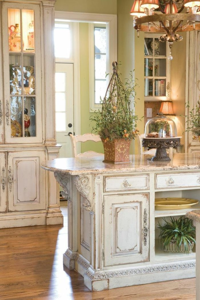 indoor plants and various decorations, inside a shabby chic kitchen ...