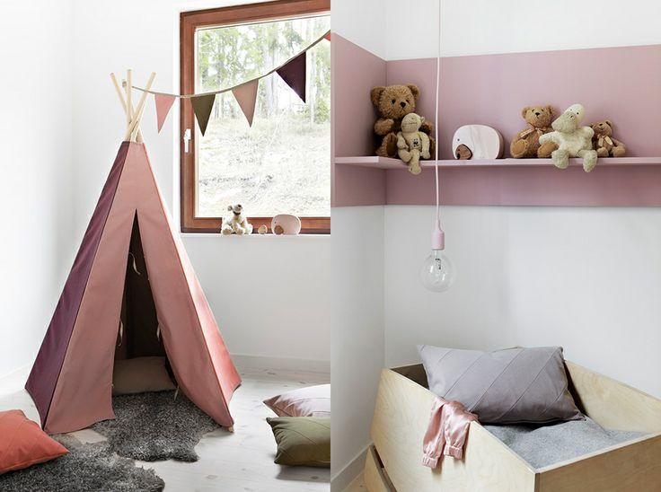Tipi-tält flaggspel kuddar barn Eva Lilja Löwenhielm Hörnhylla rosa