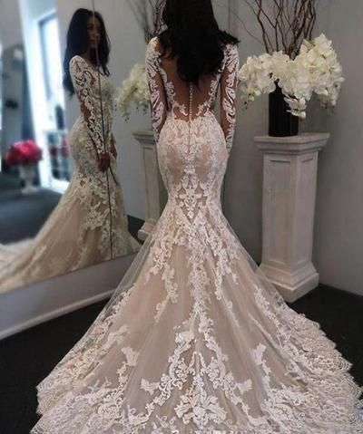 New Illusion Long Sleeves Lace Mermaid Wedding Dresses Tulle Applique Court Wedding Bridal Gowns With Buttons