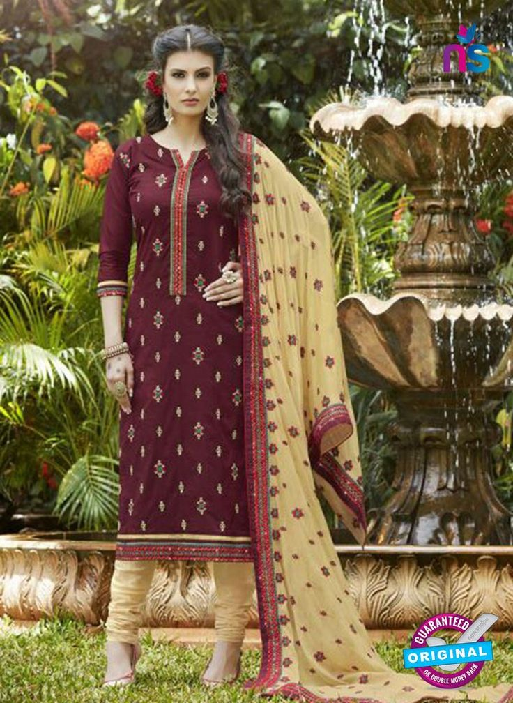SC 13466 Maroon and Beige Cambric Cotton Designer Fancy Suit. For More Details Whats App On -> +91 987 66 99 11