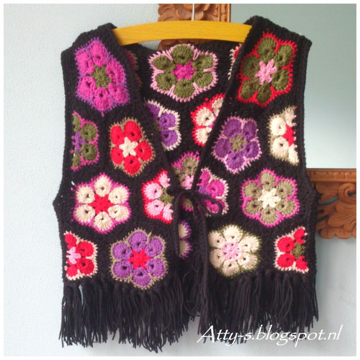 crochet african flower vest https://www.facebook.com/AttysLoveForCrochet