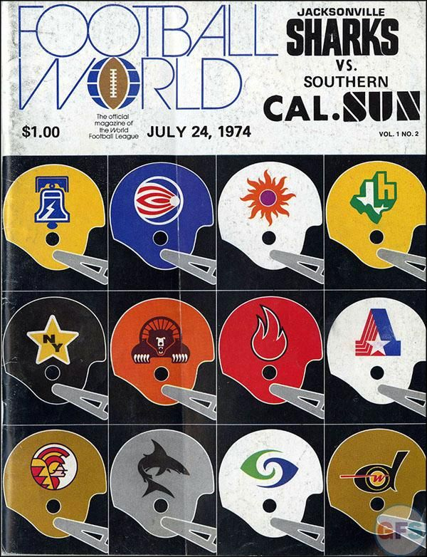 1970's World Football League (WFL) helmets.  The Memphis Southmen are shown to have an orange helmet but all other sources show them with a white helmet.