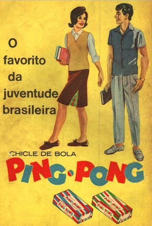 Propaganda do chicle de bola Ping Pong, escolhido como o favorito da juventude brasileira.