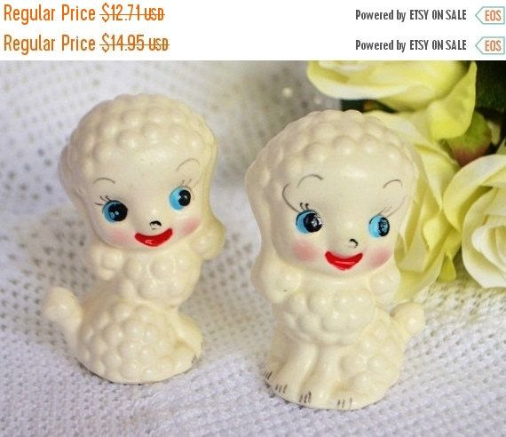 Salt And Pepper  Poodle Dogs Shakers White Vintage Dogs with Handprinted Face Vintage Stamped Japan by StudioVintage on Etsy