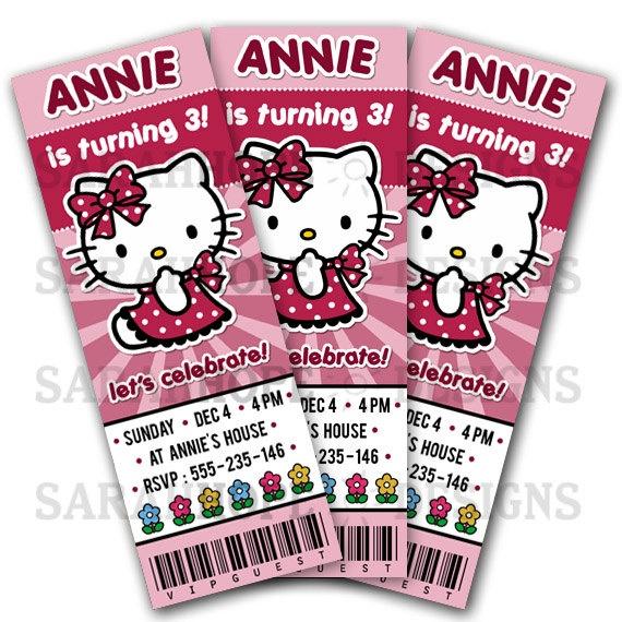 Hello Kitty Birthday Invitation Ticket Style by sarahhopedesigns, $7.50