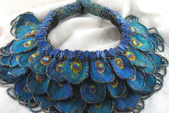 Statement necklace felt peacock feather beaded - Here is a rare piece that must have taken hours to make!
