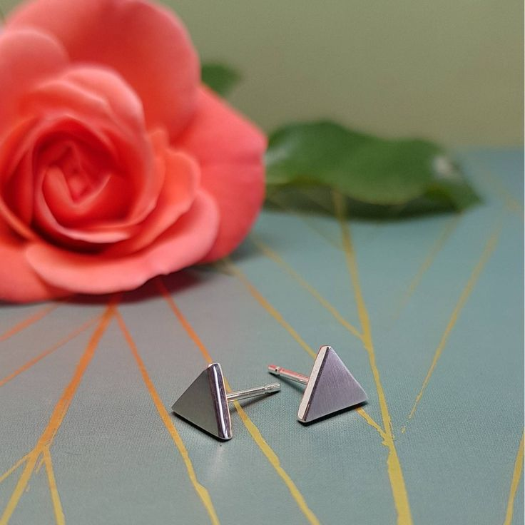 Sterling Silver Triangle Stud Earrings by Anni Anni