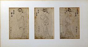 3 Utamaro drawings of famous Courtesans.