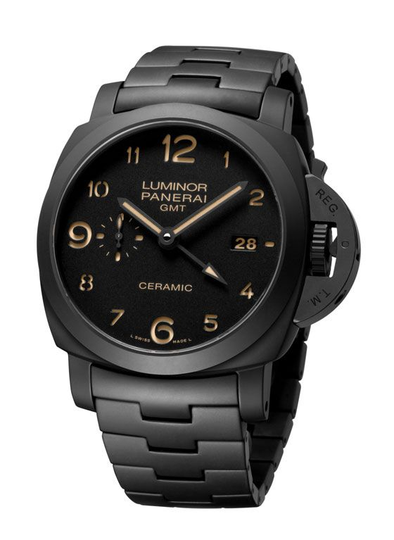 "Panerai Tuttonero Luminor 1950 3 Days GMT Automatic Ceramica. ""Tuttonero"" is the Italian word for ""all black."" The watch, which is limited to 500 pieces, carries a U.S. retail price of $16,300."