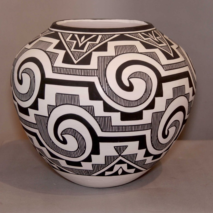 Large white jar with black fine line geometric designs by Katherine Victorino
