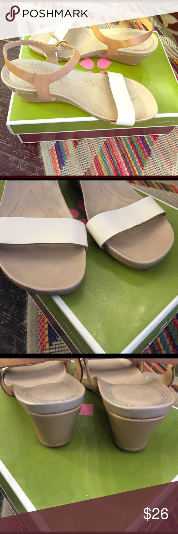 Neutral wedge Cream and tan leather wedge sandals. Will never go out of style. Leather footbed. In very good clean condition. Naturalizer Shoes Wedges