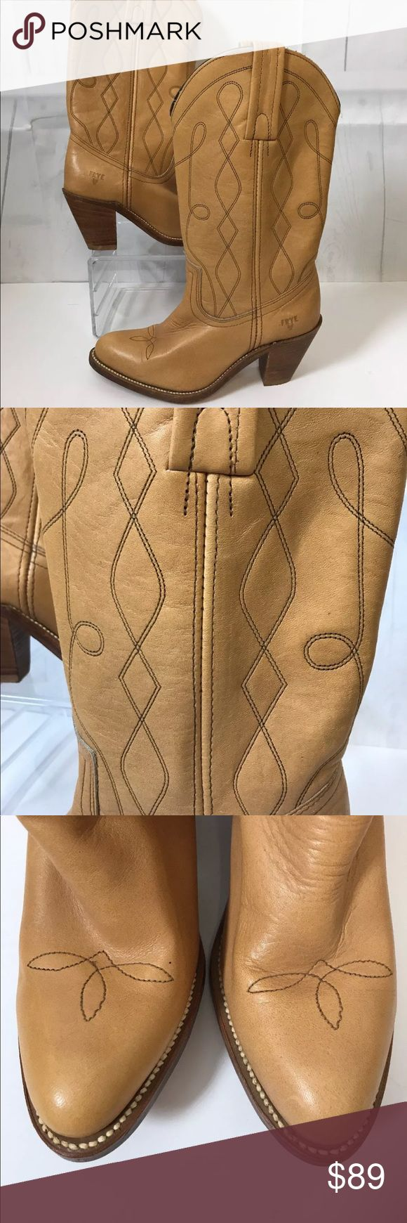Frye cowgirl boots heel Boots don't look like they have been worn just a little shelf wear and they are missing the inserts  Same or next day shipping Frye Shoes