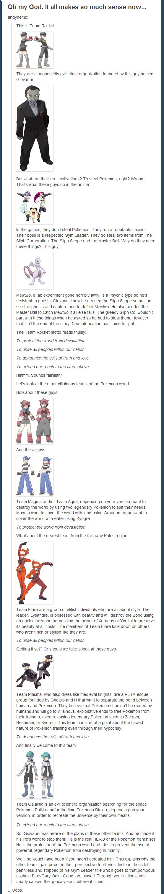 Oops... - Imgur. Erm, never thought of that! Apparently Team Rocket might have been one of the good guys in the game....our bad! hahaha #Pokemon