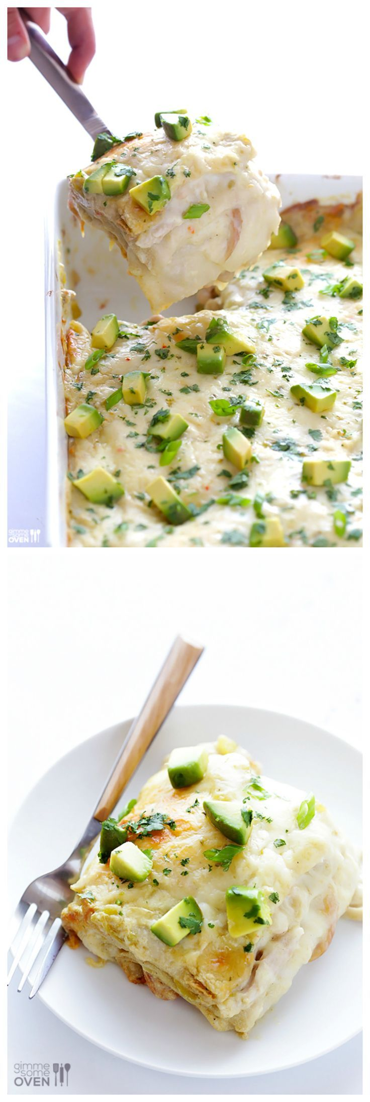 """White Chicken Enchilada Casserole -- delicious creamy enchiladas, """"stacked' (instead of rolled up) into a delicious casserole 
