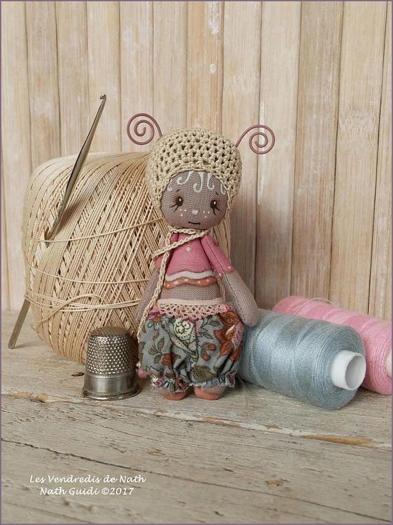 Art doll / poupée miniature  / clothdoll / ooak / Petit lutin