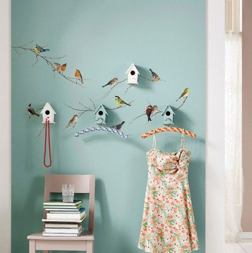 Komar Birds Wall Decals >> Love them with the birdhouse hooks!