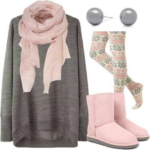 Fall / winter outfit ideas. Leggings. Pink boots. Oversized sweater. Blush scarf. . I would wear this if I could. It's so beautifully done and lovely and comfy.