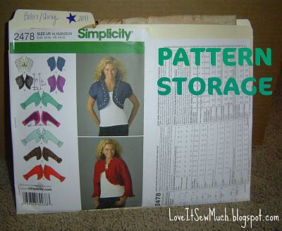 i started this to keep patterns orgnaized and togetehr.  i may get manilla envelopes to keep things in the folder so nothing can escape.    Organize sewing patterns by cutting pattern envelope and stapling to a manilla file folder. Place pattern pieces and instructions in the file folder