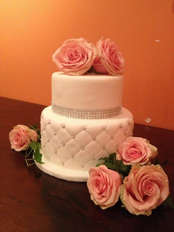 Fondant Tufted Two Tier Cake With Peach Roses