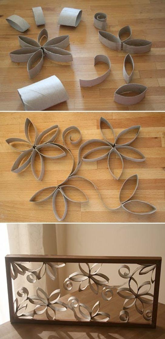 Quadro com rolos de papel higiênico - DIY - Reciclagem com Papel - Faça você mesmo!
