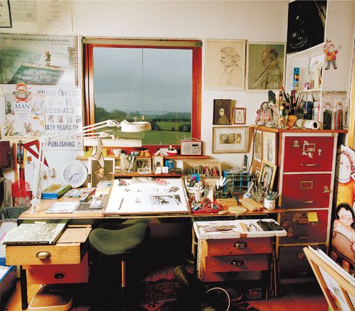 Raymond Briggs: The kind of work I do, which involves writing, designing and illustrating, needs a lot of space. This room is about 14 x 28 feet and is nowhere near big enough. This picture shows just a corner of it. There is also an ex-billiards table covered in equipment which the lucky scribbly-tappy writer does not need.