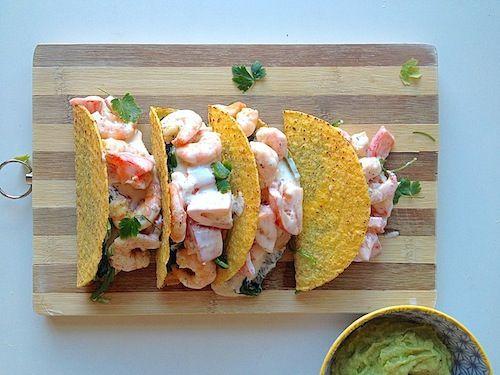 5 or less: Taco's met romige garnalen - chickslovefood.com