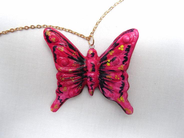 #Collane con #Pendente #Farfalla Corallo in #Ceramica