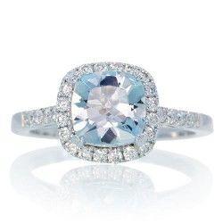 Aquamarine 7mm Cushion Halo Diamond Engagement Ring