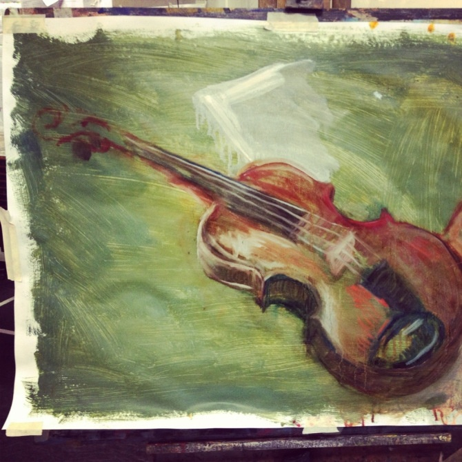 Study of a violin in oils by Michael Fredman.