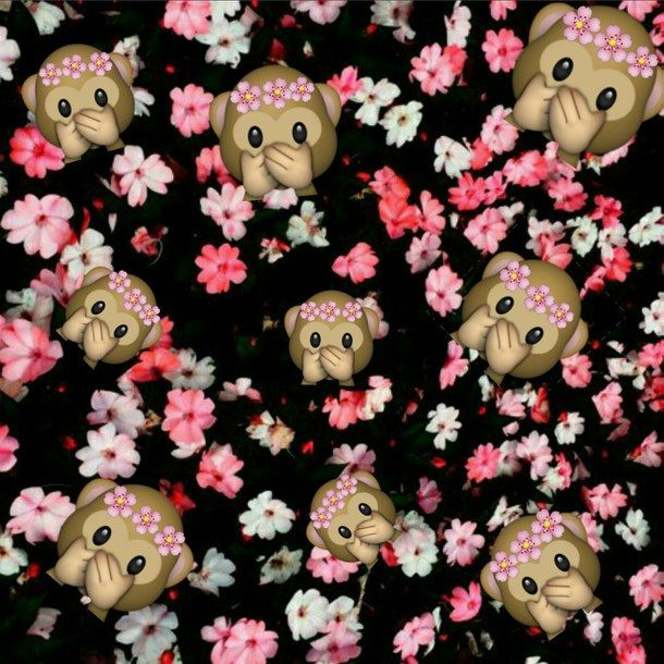 emoji, flores, monkey, monos, wallpaper, First Set on Favimcom ...