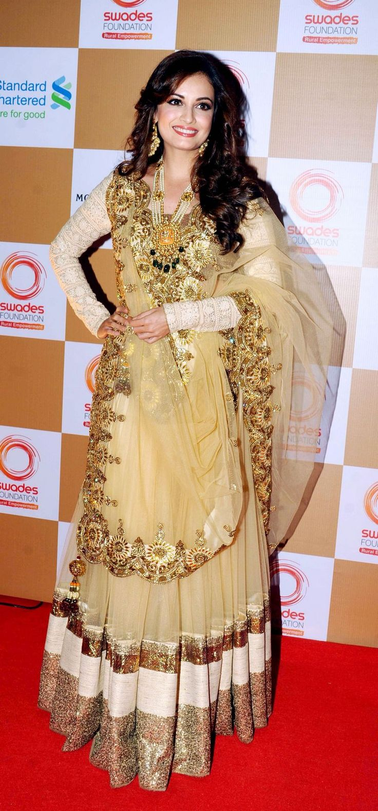 The bling on Dia Mirza's outfit was blinding! At a fund raising event hosted by Swades Foundation.