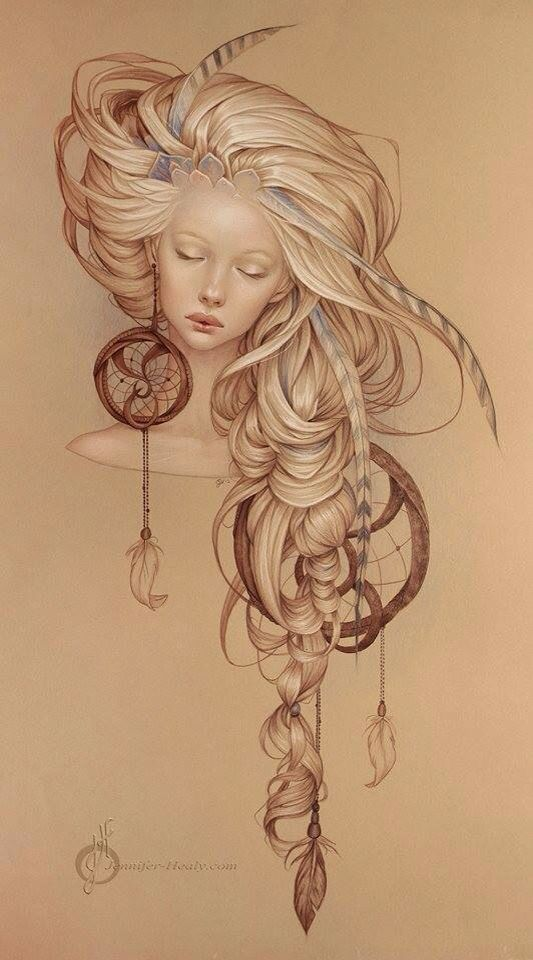 Girl and dream catcher tattoo design drawing :)