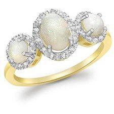Carissima Gold Anello da Donna, Oro Giallo, 9 K (375), Opale Diamante, Ovale, Misura 16.6