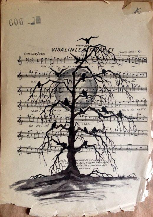 ARTFINDER: visalinle fayab et by Leyla Özlüoğlu - original ink and pen on vintage music paper #art #drawing #musicpaper