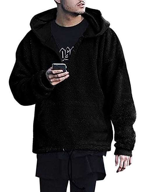 Gtealife Mens Sherpa Pullover Hoodie Pebble Pile Fleece Oversized  Sweatshirts Pockets Outfits Review 262d1ffccb