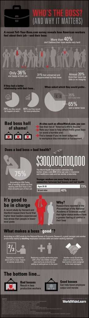#INFOgraphic > You and Your Boss: Are you happy with your boss? Would you use his portrait for target training with your pins? No matter whats your case, WorldWideLearn presents an illustrated version of workers job and boss perception survey conducted by Tell-Your-Boss.com.   > http://infographicsmania.com/you-and-your-boss/