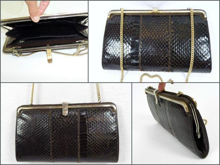 VINTAGE real SNAKESKIN brown CLUTCH HANDBAG leather gold chain strap snake skin