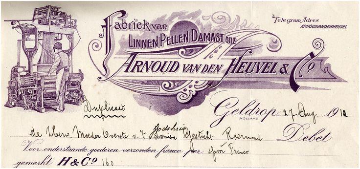 Arnoud van den Heuvel & Co. Fabriek van linnen, pellen, damast enz - 1910