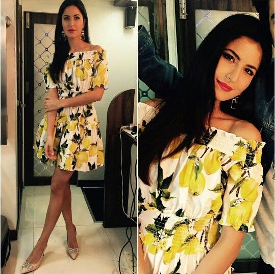 Katrina Kaif wearing yellow printed dress by Dolce & Gabbana for her movie Fitoor Promotions