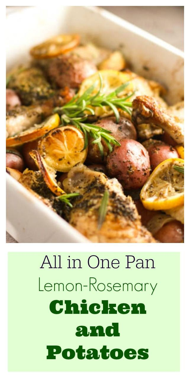 Rosemary Lemon Baked Chicken with Potatoes - Toss it, mix it, bake it!  Sub sweet pots for the bakers to make Paleo or Whole30 !  #one pot # weeknight dinner